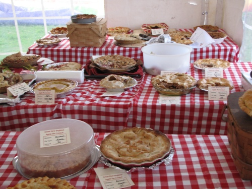 Some of the entries waiting to be sampled at Applefest's second annual apple pie contest. (Russell Steven Powell photo)