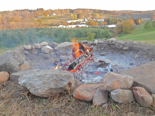 An atmospheric fire adds to the view at March Farm, Bethlehem, Connecticut. (Bar Lois Weeks photo)