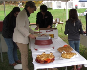 Theresa Matthews' winning 2014 Great New England Apple Pie Contest pie is in the foreground. (Russell Steven Powell photo)