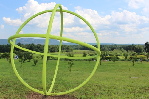 """Truth #1,"" by Peter Dellert, one of nearly 30 sculptures nestled among fields and apple trees at ""Art in the Orchard,"" at Park Hill Orchard, Easthampton, Massachusetts. (Russell Steven Powell photo)"