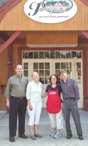 L to R: Jim Bair, president of USApple, Bar Lois Weeks, executive director of the New England Apple Association, and Ellen and Mark Parlee pf Parlee Farms in Tyngsboro, Massachusetts.