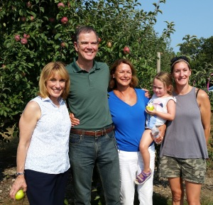 L to R: New Hampshire Gov. Maggie Hassan, owners Andrew Mack Jr., Nancy, Zoey, and Cindy Mack of Mack's Apples in Londonderry. (Bar Lois Weeks photo)